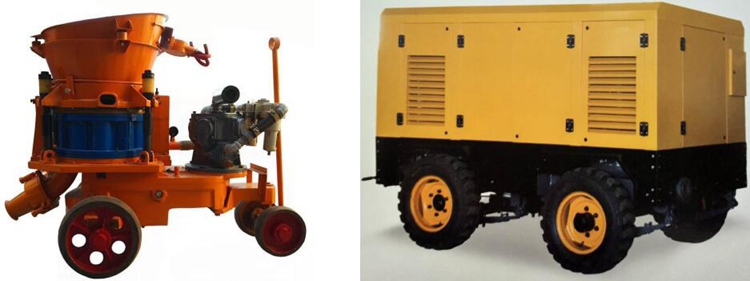air shotcrete machine with air compressor