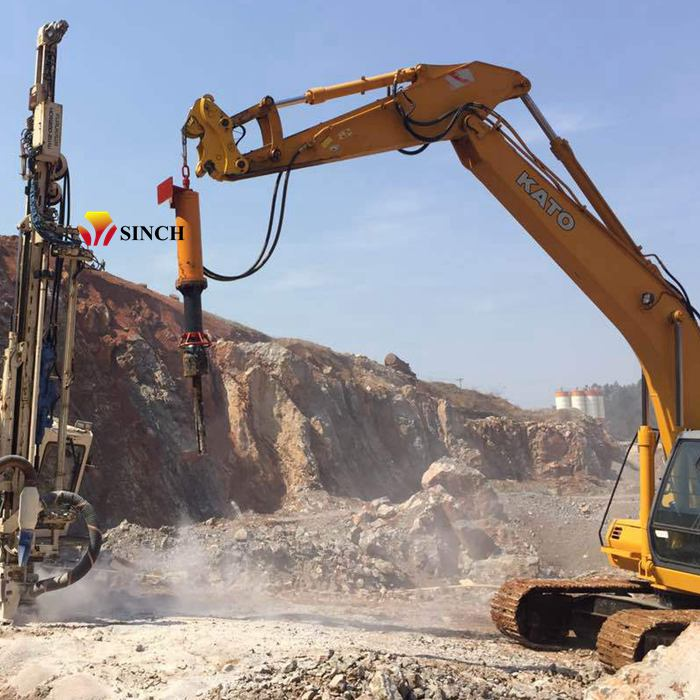 Excavator mounted big rock splitter