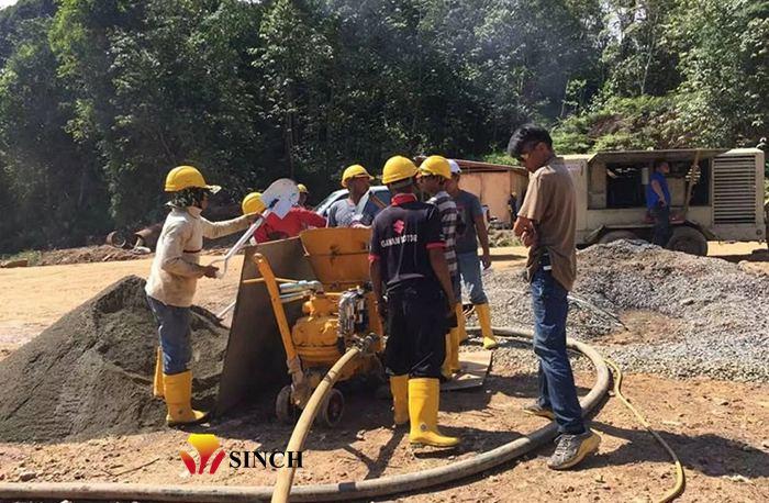 working site or air motor shotcrete machine