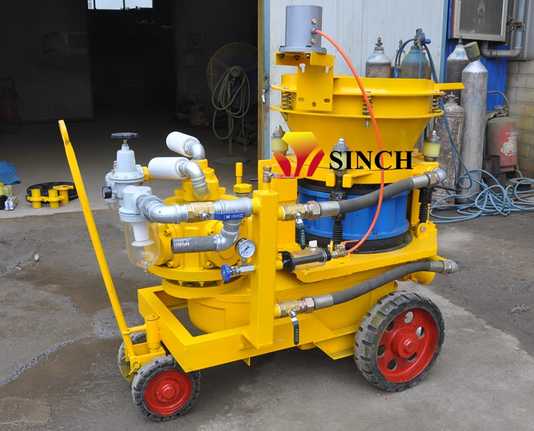 Pneumatic shotcrete machine