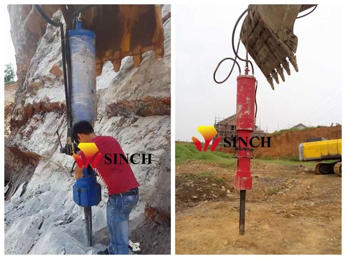 Excavator mounted rock splitter